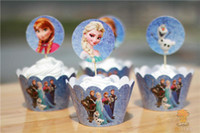 Wholesale 2014 Frozen cupcake wrappers amp toppers picks decoration kids birthday party favors supplies wraps toppers