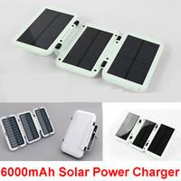 Wholesale 6000mAh Solar Power Charger Folding Portable Power Bank Outdoor Emergency External Power Battery Drop Shipping