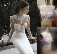 Reference Images Crew Satin Prom Dress Vestidos De Noiva 2014 New Arrival Sexy Long Sleeves Sheer Lace Mermaid Berta Wedding Dresses Bridal Weddings & Events Gowns