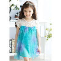 TuTu Summer Sheath baby frozen dress girl Elsa Dress new 2014 girls princess lace blue party casual summer dresses baby & kids clothes