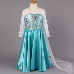 Wholesale 2014 Girls Frozen Party Dresses Baby Queen Elsa Anna Dress Kids Sequin Princess Dresses Lace Flower Dress Christmas Children Dresses GZ GD11