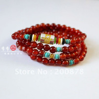 Stone agate rosary beads - Tibetan Buddhism Red Agate Fashion Beads Bracelet Rosary mm no MOQ Best offer