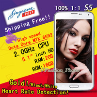 Wholesale Heart Rate Detection Best S5 Size inch X720 IPS s5 SM G900 Octa Core MTK6592 GHz GB RAM GB Android KitKat G WCDMA
