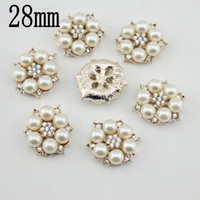 Quilt Accessories Buttons Yes gold-plated pearl alloy button hair bow rhinestone button flat back embellishment DIY hair accessory
