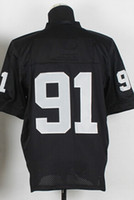 Cheap Newest Elite Jerseys #91 Jersey New Size 40-56 Black White Stitched Mix Match Order American Football JERSEY