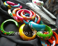 Stone Fashion Bangles BB-278 Thailand wooden painted open cuff bangle,Gossip girl fashion,multi-colors mix order