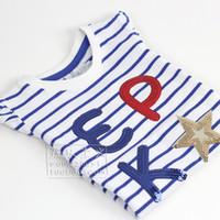Francesas grandes EPK 2014 modelos del verano de las muchachas grandes perlas alfabeto virgen Puff -sleeved T-shirt off