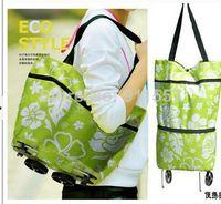 Wholesale fashion portable car folding tugboat shopping cart travel bag shopping bag fold oxford fabric LX323