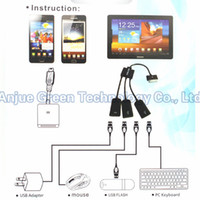 Smart OEM Yes 3 in 1 USB OTG Host Hub Cable Adapter multi-funtion OTG Cable for Samsung Galaxy Tab 2 P7500 P7510 P7300 P3110