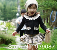 Wholesale retail Girls Autumn Suit Checked Cardigan Skirts pc Suit Baby Clothing Years Children Clothing