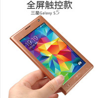 Wholesale Samsung Galaxy S5 FULL VIEW Open Window PU Leather Protector Cases For I9600 Full TouchScreen the Newest Style Retail Package Factory Price