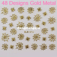Wholesale Designs Nail Art D Sticker Gold Metal Spider Web Leopard Note sheets