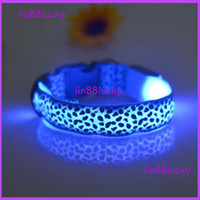 Wholesale Sexy Leopard printed design dog pets safety collar with led lights flashing led dog cat collar