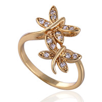 African band dragonfly - New K Plating Golden Band Rings European Style Dragonfly Copper Finger Rings Jewelry For Women Lady Wedding Gifts J0892 J B