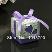 Wholesale 100X Lovely Square Purple Candy Box Hollow Heart White Cardboard Paper Wedding Boxes Gift Box Candy Box
