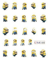Decal 2D Metal Wholesale-HOTSALE 20PCS LOT Minions Cartoon WATER DECAL NAIL ART Accessories Cartoon Serie Nail Tattoo,11 Different design