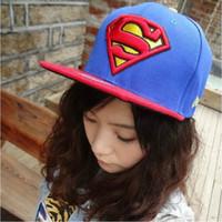 Wholesale top boy girl unisex hip hop superman snapback casual caps men women gorra casquette raiders sun hats H02
