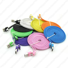Wholesale 3M FT Extra Long Flat Noodle Fabric Braided Woven USB Charger Cable Noodle Charging Knit Fiber Sync Data Cord For Smartphone CellPhone