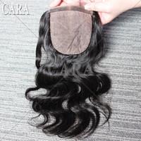 Cheap Peruvian Brazilian Mongolian Malaysian Indian virgin hair body wave natural silk base lace top closure 5A Queen hair products Free shipping