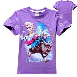 Wholesale Baby Frozen Girls Anna Elsa Princess T Shirt Kids Summer Short Cotton T shirt Cartoon Blue and Purple Children Top Clothing DG GD8064