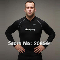 Wholesale New Style Men s Zipper Tights Dry Fitness Wear Sports training Suits Long sleeved T shirt