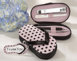 Wholesale Hot Sale Nail Care quot Pink Polka Flip Flop quot Four Pedicure Set Manicure Set Wedding Gift