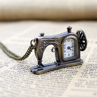 Dress Women's Digital Antique vintage style pocket watch with carved sewing machines designs