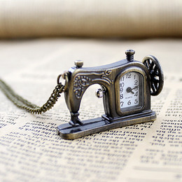Wholesale Antique vine style pocket watch with carved sewing machines designs