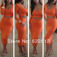 Wholesale jumpsuits Europe Style New sexy Two piece Skirts Color Skirt Nightclub Clothing Set