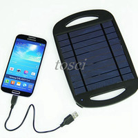 Wholesale HOT W Solar USB Battery Travel Charger VDC mA output Mobile Phone Charger Solar Panels without battery inside With Retail Packaging