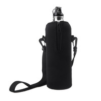 bag travels - 1000ml Stainless Steel Outdoor Sports Drinking Bottle with bag Zipper Removable Straps Neoprene Black Bicycle Climbing Travel H10675 H10688