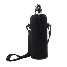 Wholesale 1000ml Stainless Steel Outdoor Sports Drinking Bottle with bag Zipper Removable Straps Neoprene Black Bicycle Climbing Travel H10675 H10688