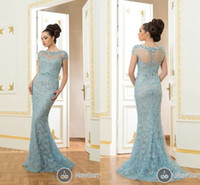 Wholesale 2014 Fashionable evening dresses Emerald Mermaid Sheer Scoop Neck Short Sleeve Bead Sequins Lace Party Gowns