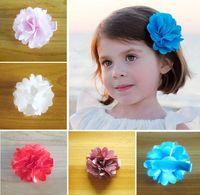 Barrettes . Floral 5CM Satin Gauze Flowers Children Barrettes Kids Hair Clips Girls Princess Barrettes Child Hair Accessories 70pcs lot TX634