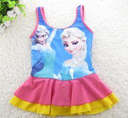 Wholesale 2014 NEW Summer Kids Children Frozen Elsa Cotton Girls Swimwear tshirts T shirt