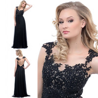 Reference Images High Neck Chiffon Stunning Sexy Black Sheer Neckline with lace Short Sleeve Chiffon Prom Evening dresses Dress Gown Sheath Backless Formal Pageant Party Dress