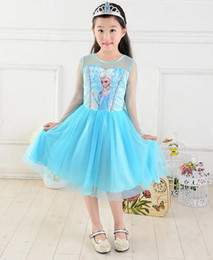 Wholesale 1PC Retail Fashion New Girls Frozen Dress Children Frozen Princess Elsa Dress Children Cartoon Dress Cheap T P30400