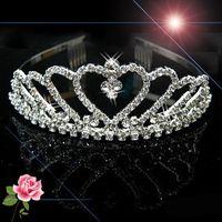 Wholesale Wedding Bridal Bridesmaid Flower Girls Love Crystal Tiara Crown Headband