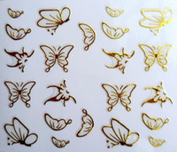 Wholesale New D Nail Art Stickers Decal Gold Butterfly Metallic Design Decoration French Manicure Stamping Foils Tools