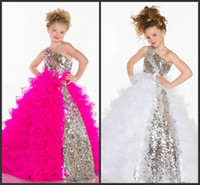 Wholesale 2015 Cute Lovely Sequins Crystal Ruffles A Line Tulle Girl s Pageant Flower Girl Dresses Sequins Piping With One Shoulder Neckline