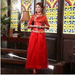 Wholesale Lowes Price Reformed Cheongsam Wedding dress Long Sleeve Long Style Red toast Clothing Two Pieces Vintage Chinese Cheongsam
