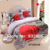 Woven Cotton Twill Reactive Printed 3D beding sets pure cotton queen size City Flowers Rose luxury bedcover Duvet quilt cover sets