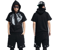 Wholesale 2013 Black Cotton PU leather Hip Hop Short sleeve hoodie Mens urban clothes Printed Cheap Plus Size XXL By Air