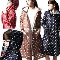 Wholesale NEW Summer Womans Ladies waterproof Plastic clothes Rain Jacket coat Polka Dot Pocket Knee Length hoodie Rainwear Raincoat