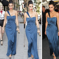 Reference Images One-Shoulder Chiffon Kim Kardashian Sexy One Shoulder 2014 Prom Dresses Chiffon Long Evening Gowns Fashion Party Dress Backless Celebrity Gown DH003818