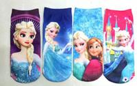 Wholesale 12pairs new frozen children cartoon socks Elsa Anna printting girls autumn lovely ployester cotton cute socks
