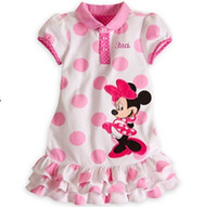 TuTu Summer A-Line In Stock New 2014 Girl Summer Dress Polka Dot Minnie Mouse Tiered Dresses 2-6 Year Melee