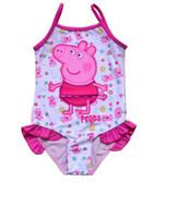 Wholesale 2014 Children Baby Girls Cartoon Peppa Pig Printed Swimwear Baby Kids Suspender Swim Suit Child Lovely Flower Printing pc Swim Romper I1313