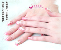 Wholesale QSThousands of colors the bride Nails set Crystal Nails dimensional fake nails chip beads bridal makeup
