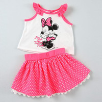 Cheap Minnie Clothes Girl Two Pieces Pink Children Outfits Sleeveless Minnie Mouse Tops + Dot Skirt Pink Girls Minnie Set